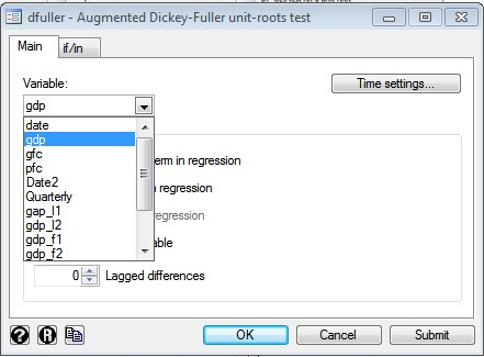 Figure 9: Dialogue box for Augmented Dickey Fuller test for time series analysis in STATA