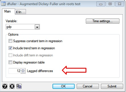 Figure 11: Dialogue box for Augmented Dickey Fuller test