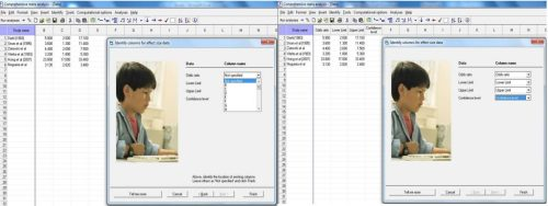 Identifying the columns for the effect size data as per the selected data entry format