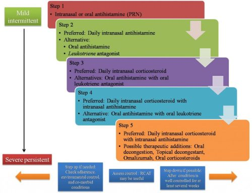 Step therapy algorithm for pharmacological treatment of rhinitis