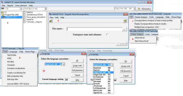 Description of the main toolbar