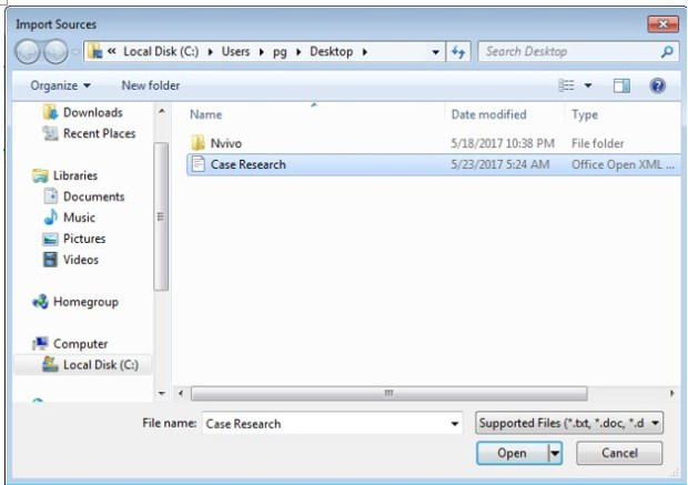 How to import file as an Nvivo memo?