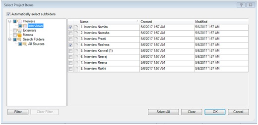 Figure 9: Dialogue box for choosing cases for comparison in Nvivo