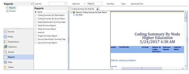 Figure 9: Report on coding summary by selected node created in Nvivo workspace