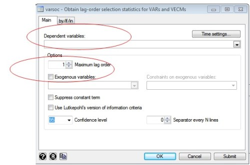 Figure 2: Varsoc window in STATA for lag selection