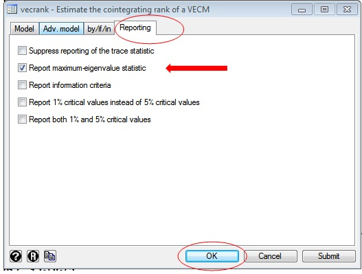 Figure 7: Reporting page of vecrank window on STATA for Johansen cointegration test in VAR with two variables