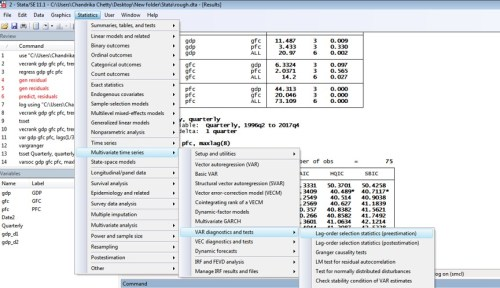 Figure 1: Lag selection criteria for VAR with three variables in STATA