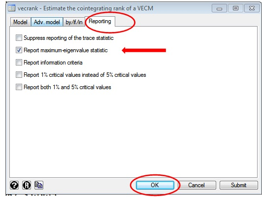 Figure 3: 'Reporting' tab of vecrank window on STATA for Johansen co-integration test in VAR with three variables