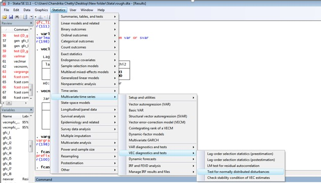 Figure 4: Pathway for normality test for VECM in STATA