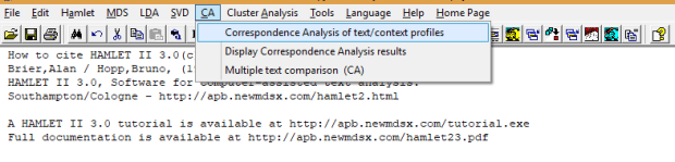 Figure 1: Step 1 of correspondence analysis using Hamlet II