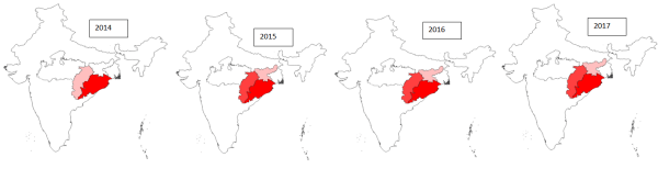 Malarial prevalence (P. falciparum) in major states of India (2014-2017)