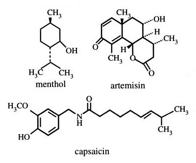 Common types of terpenoids and thier chemical structures (Cowan, 1999)