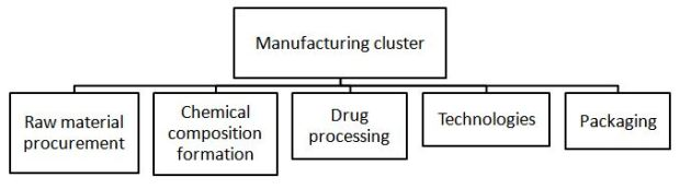 Manufacturing cluster of the pharmaceutical business