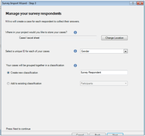 third step for importing data through Survey Import Wizard