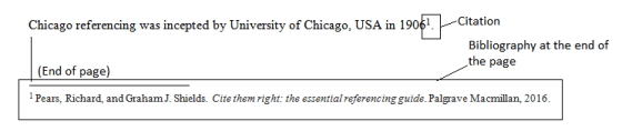Footnote referencing in case of Chicago Manual of Style Referencing