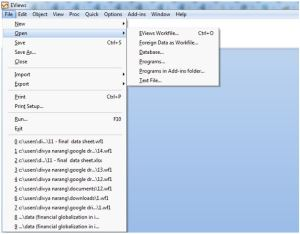 Importing the work file in E-views