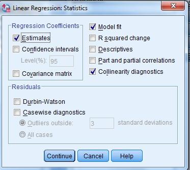 Collinearity test computation via VIF