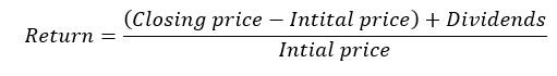 Equation 3: Return of stock computation