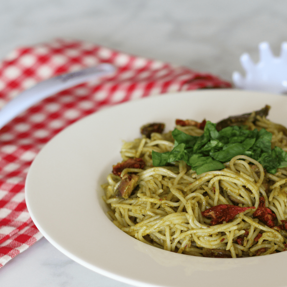 Sun-dried tomato basil pesto angel hair pasta