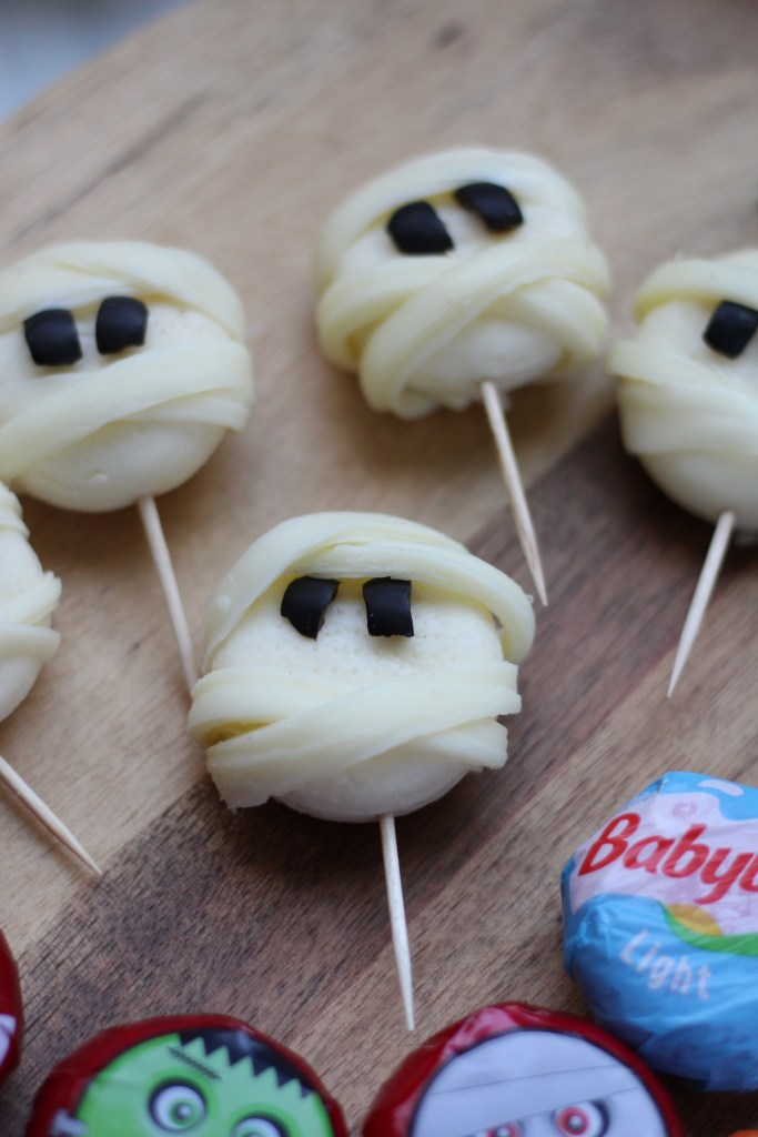 mummy cheese heads halloween themed food
