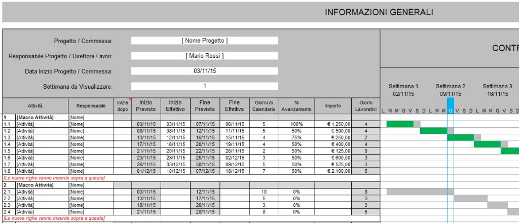 Controllo Stato Avanzamento Lavori su Excel (SAL)