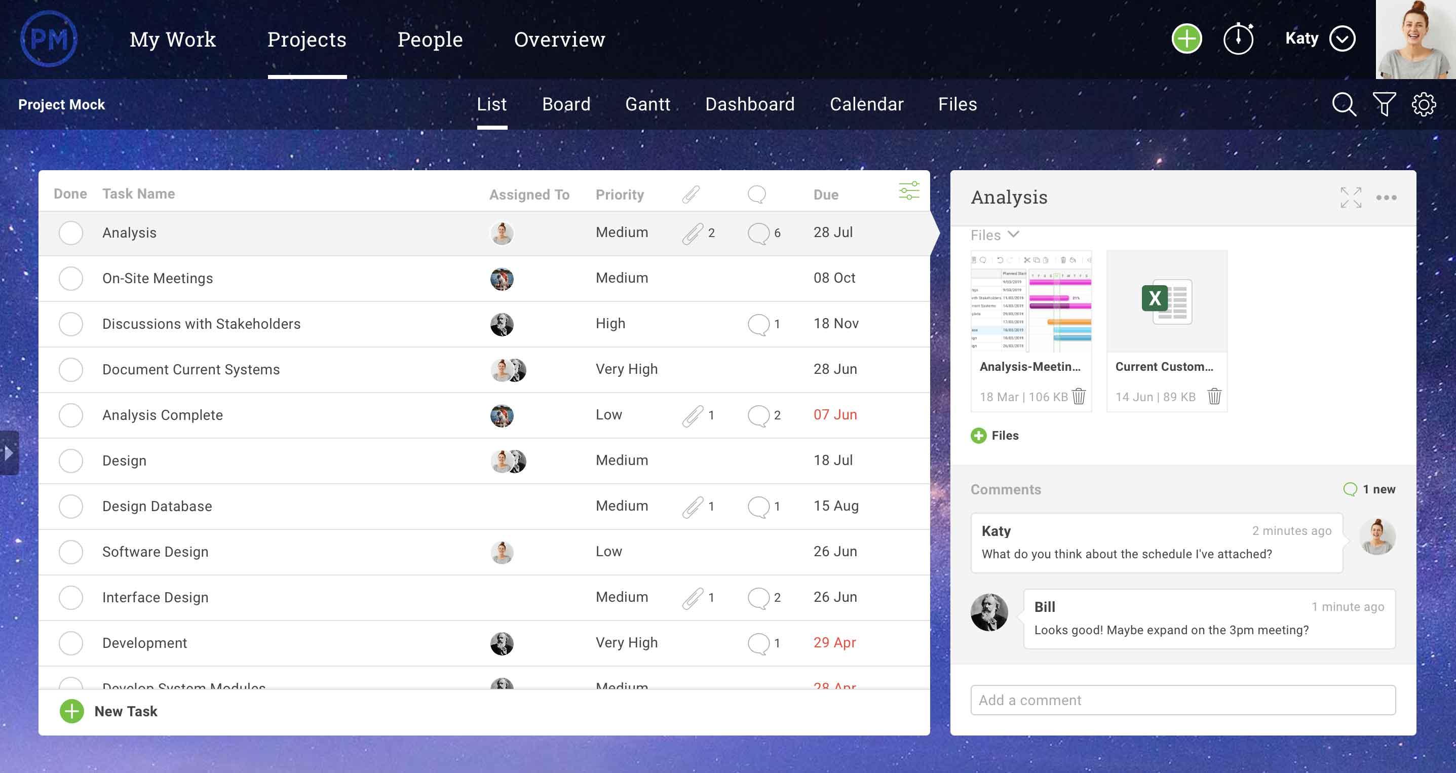 captura de pantalla de la lista de tareas en projectmanager.com