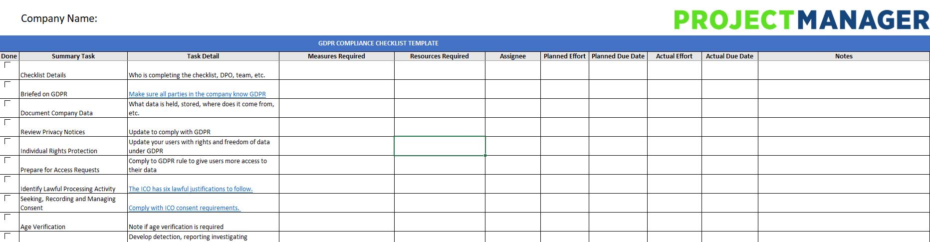 Gdpr Compliance Checklist Free Excel Download