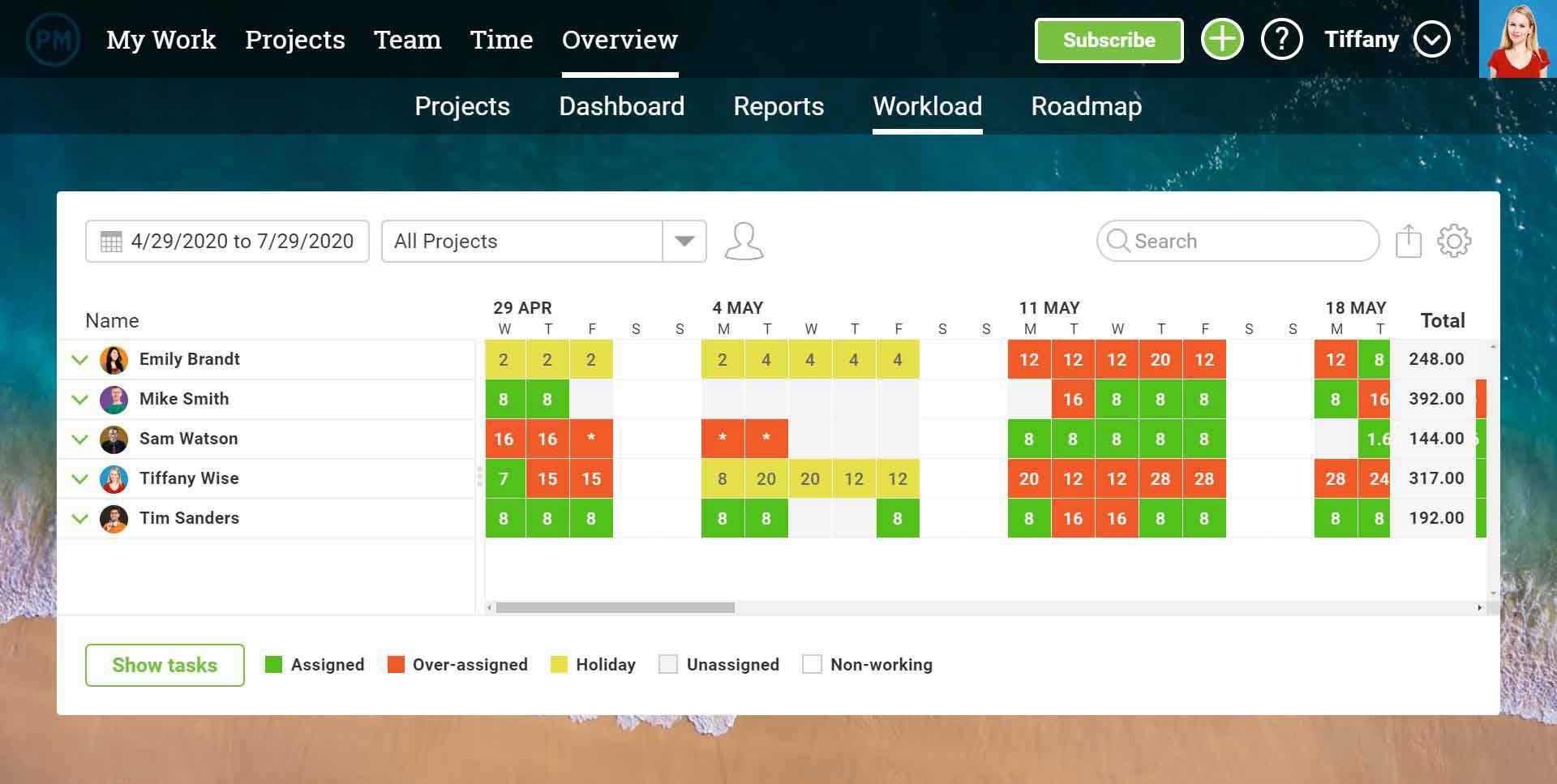 Una captura de pantalla de la página de carga de trabajo general en ProjectManager.com