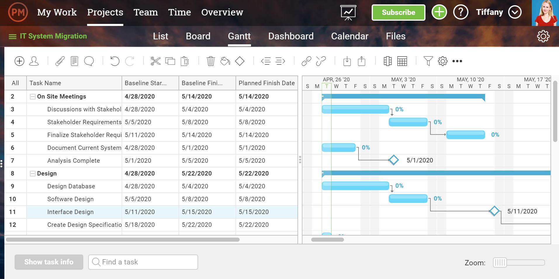 Una captura de pantalla del diagrama de Gantt, donde se establece una línea de base . Esto permite al creador de diagramas de Gantt realizar un seguimiento del progreso