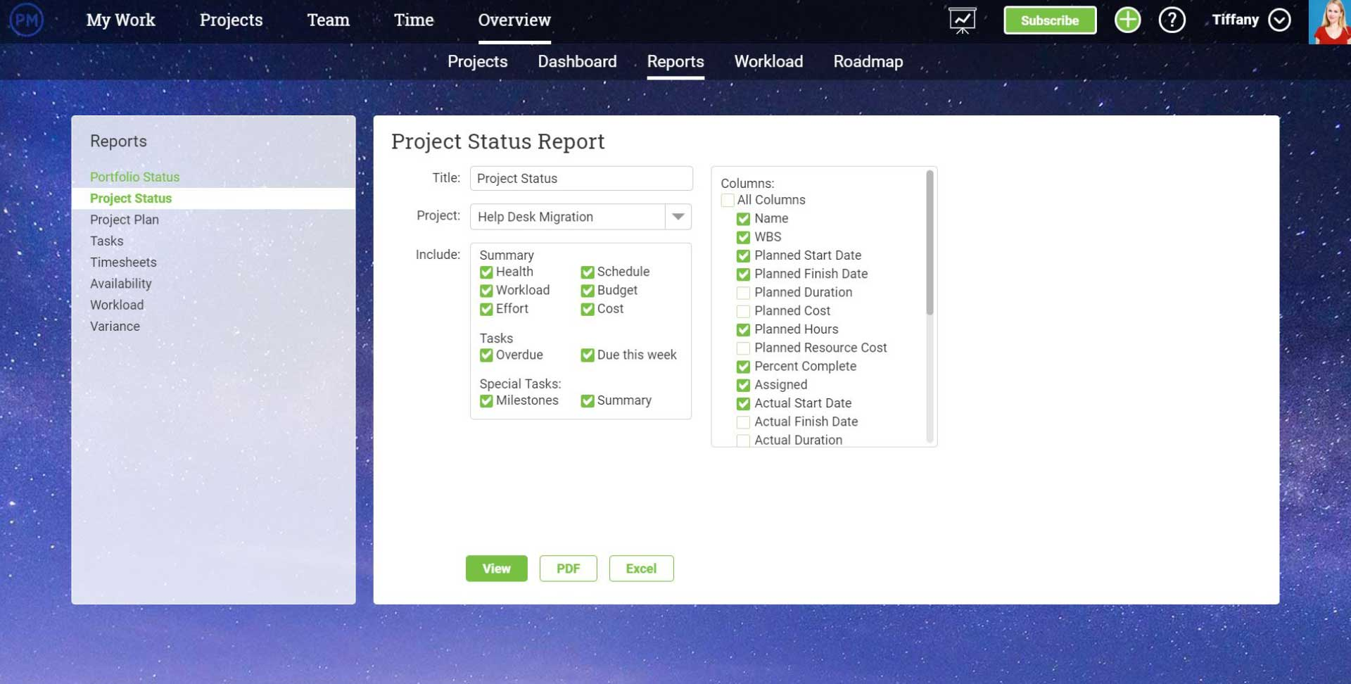 Una captura de pantalla del generador de informes de estado en ProjectManager.com