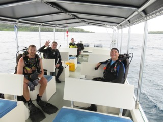 bent prop crew gearing up for scuba dive in palau