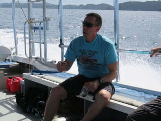 riding the dive boat back to shore palau