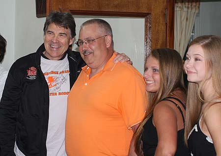 Governor Perry with Bob Richards, Chloe, and Karly.