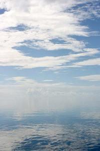 ocean with no horizon after rain storm, palau