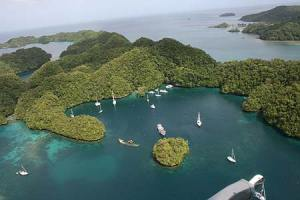 Beautiful Palau islands as seen from our helicopter