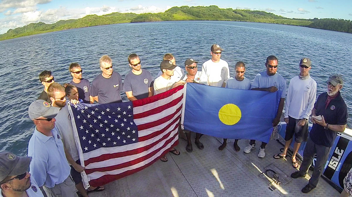 "2014 Palau TBM Avenger Flag Ceremony in Palau during the The Repatriation of Albert P. ""Bud"" Rybarczyk"
