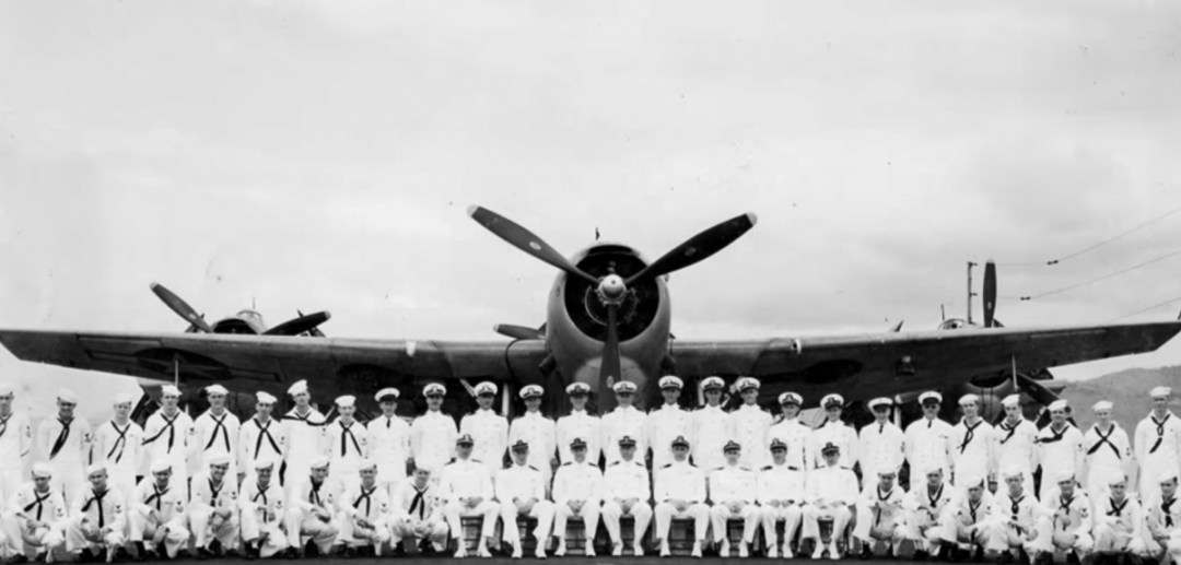 "Walter E. ""Bert"" Mintus as part of a Group Shot of U.S. Navy Torpedo Squadron Fifty One (VT-51) based on the USS San Jacinto"