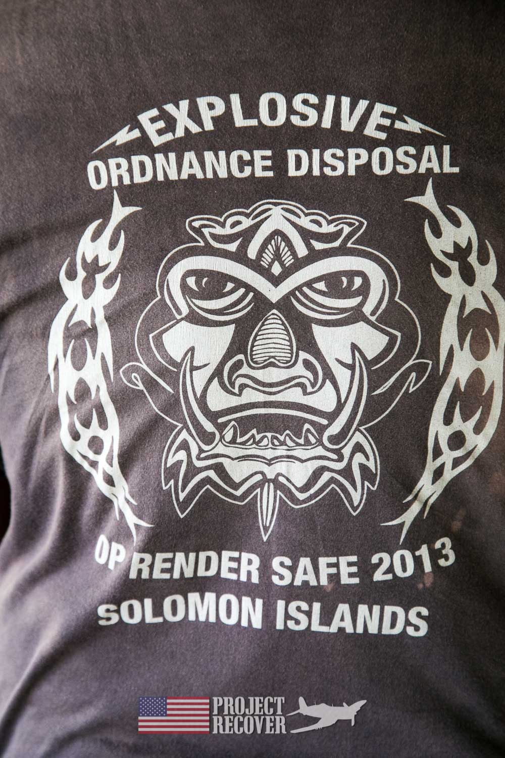 Team TShirt Honiara EOD - Hells Point - Nose gunners view Japanese WWII bomber - Vilu War Museum - Honiara - while looking to find Solomon Islands MIAs - Project Recover and BentProp Project are committed to bringing the MIA home. Photos by Harry Parker Photography.com