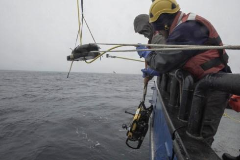 An ROV is deployed near Kiska, Alaska, by Project Recover staff including Dr. Matthew Breece