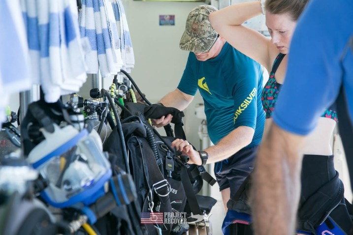 Checking scuba gear before diving WWII wreck during Solomons MIA Search - Project Recover and BentProp Project are committed to bringing the MIA home. Photos by Harry Parker Photography.com
