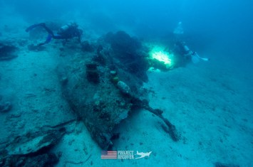 Filming a WWII wrecked B24 for 3D modeling during Solomons MIA Search - Project Recover and BentProp Project are committed to bringing the MIA home. Photos by Ewan Stevenson WWW.ARCHAEHISTORIA.ORG