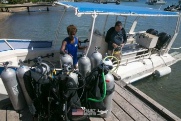 Getting ready to board a diving boat to document a downed WWII MIA aircraft during Solomons MIA Search - Project Recover and BentProp Project are committed to bringing the MIA home. Photos by Harry Parker Photography.com