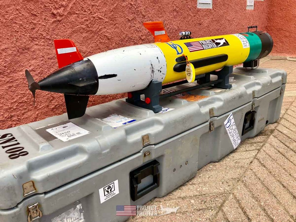 photo of side scan sonar equipped AUV - autonomous underwater vehicle  - Project Recover is committed to bringing the MIA's home. Photos by Harry Parker Photography