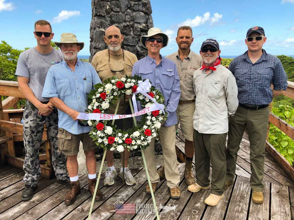Project Recover and Cleared Ground Demining at wreath-laying ceremony recognizing 75th Anniversary of Battle of Peleliu.