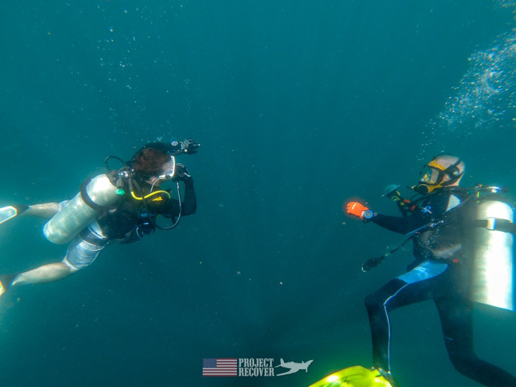 Adam Gray (MIA Family) and Flip on dive to Rybarczyk's WWII wrecked Avenger. Photo by Dan O'Brien
