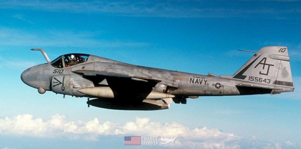 A Grumman A-6 Intruder twinjet all-weather attack aircraft.