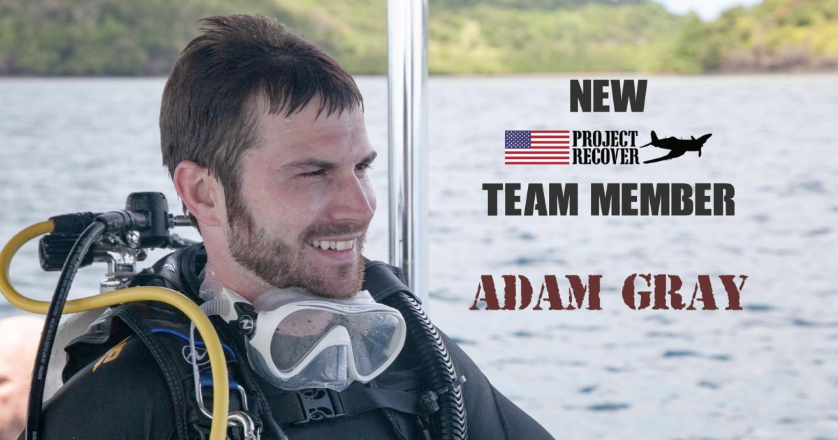 New 2019 Project Recover Team member Adam Gray smiling after surfacing from a dive on the downed WWII aircraft of his great uncle's ARM2c Albert 'Bud' Rybarczyk- Project Recover is committed to bringing the MIA home. Photos by Harry Parker Photography