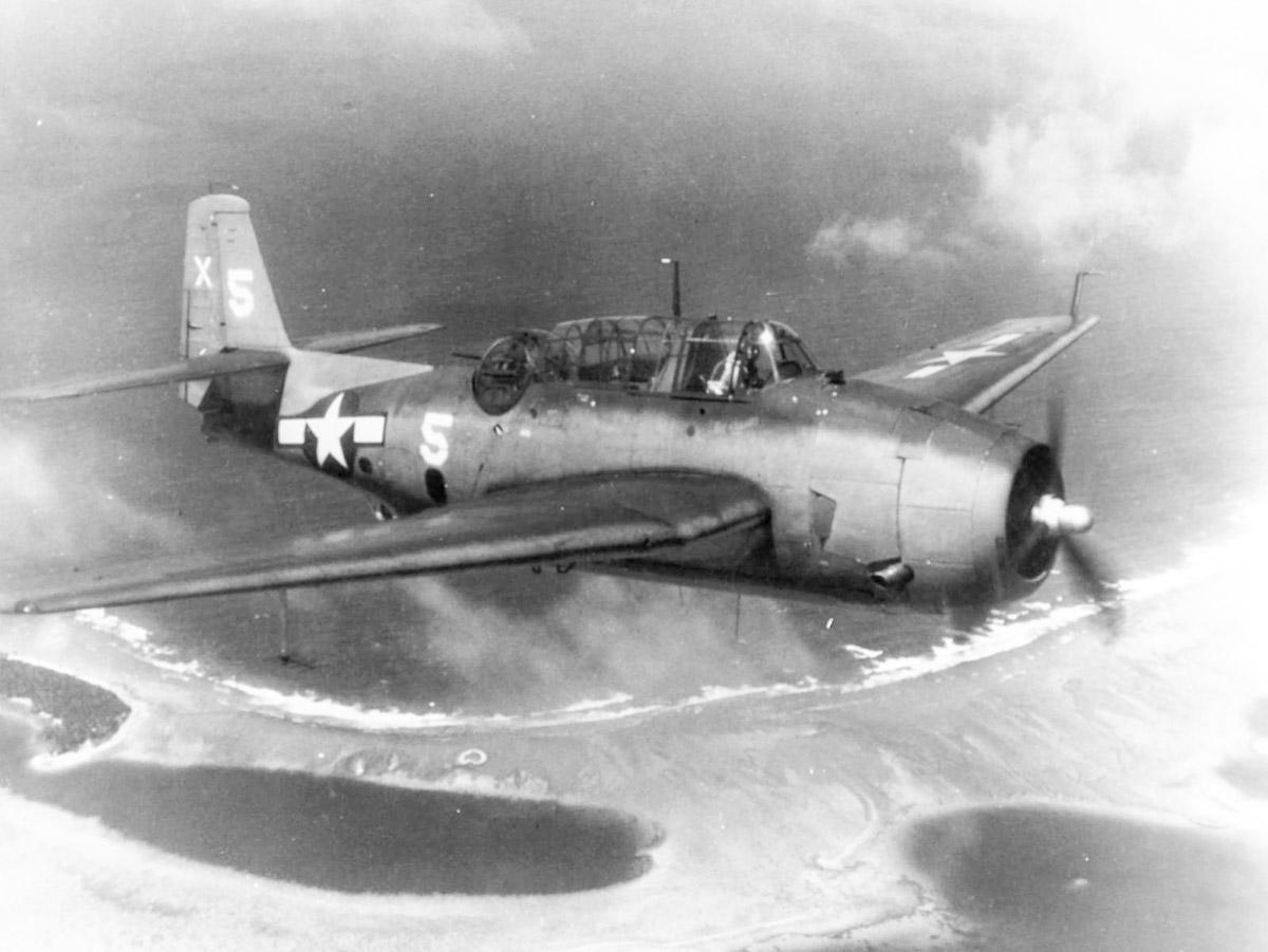 WWII TBM Avenger Bomber Plane over Pacific