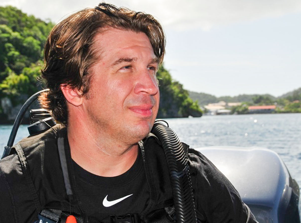 Derek Abbey in Palau ready to dive