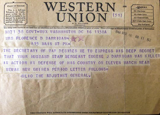 WWII Western Union letter for SSgt Eugene Darrigan